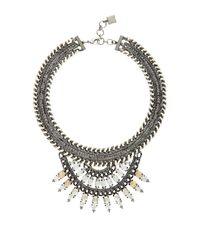 BCBGMAXAZRIA | Metallic Fanned Stone Necklace | Lyst