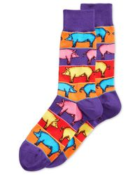 Hot Sox | Purple Pop Pigs Crew Socks for Men | Lyst