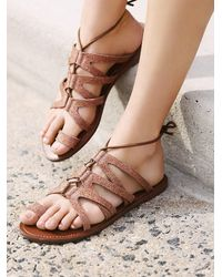 Free People - Brown Vegan Gemma Lace Up Sandal - Lyst