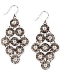 Lucky Brand | Metallic Silver-tone Freshwater Pearl Diamond-shape Drop Earrings | Lyst