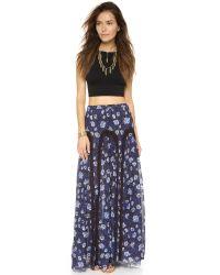 Free People | Blue Zoe Maxi Skirt - Indigo Combo | Lyst