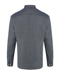 Paul Smith | Gray Grey Denim Grandad Collar Chambray Shirt for Men | Lyst