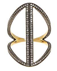 Noor Fares - Metallic Gold-plated Sapphire Rhombus Ring - Lyst