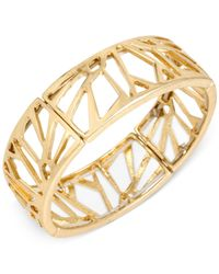 Kenneth Cole | Metallic Gold-tone Geometric Cut-out Stretch Bracelet | Lyst