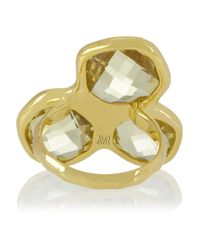 Monica Vinader - Metallic Riva Goldplated Lemon Quartz and Diamond Ring - Lyst