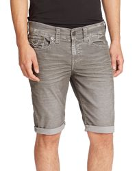 True Religion | Gray Ricky Stretch-Denim Shorts for Men | Lyst