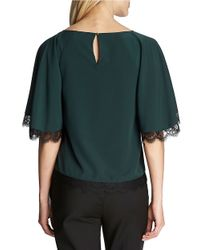 Cece by Cynthia Steffe | Green Lace-trimmed Blouse | Lyst