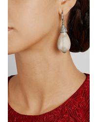 Oscar de la Renta - White Silver-Plated, Crystal And Faux Pearl Drop Earrings - Lyst