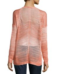 Haute Hippie - Orange Dyed-mesh Long-sleeve Sweater - Lyst
