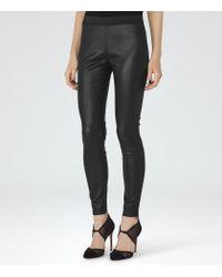 Reiss - Black Carrie Leather Leggings - Lyst