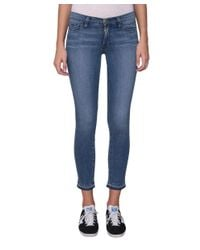 FRAME - Blue Le Skinny De Jeanne Crop Cotton Denim Jeans - Lyst