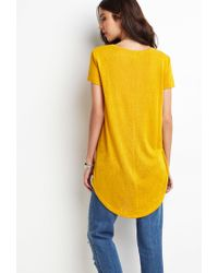 Forever 21 - Yellow Dropped Hem Slub Tee - Lyst
