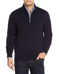 Peter Millar | Black Quarter Zip Cashmere Pullover for Men | Lyst