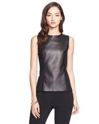 St. John - Black Milano Knit & Leather Shell - Lyst