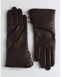 Lord & Taylor | Brown Rabbit Fur Lined Cuff Leather Gloves | Lyst