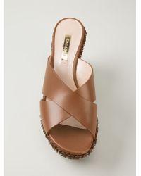 Casadei - Brown Wedge Sandals - Lyst