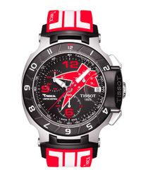 Tissot | Red Mens T-race Black Quartz Chronograph Rubber Strap Watch for Men | Lyst