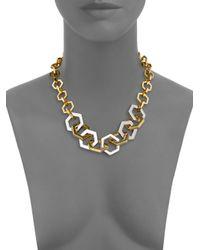 Tory Burch - Metallic Hexagon Link Necklace - Lyst