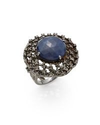 Bavna | Blue Sapphire, Champagne Diamond & Sterling Silver Cocktail Ring | Lyst
