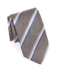 David Donahue - Gray Stripe Silk Tie for Men - Lyst