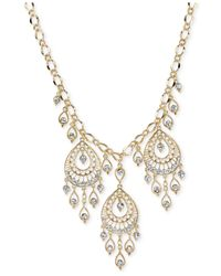 2028 | Metallic Gold-Tone Filigree Pear-Shaped Statement Necklace | Lyst