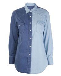 Lucien Pellat Finet - Blue Two Tone Denim Shirt - Lyst