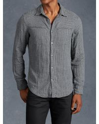 John Varvatos | Gray Cotton Houndstooth Shirt for Men | Lyst