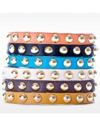Linea Pelle   Brown Skinny Dome Stud Bracelet   Lyst