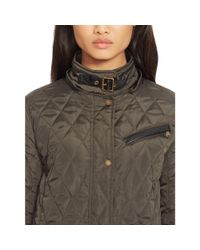 Ralph Lauren - Green Diamond-quilted Coat - Lyst