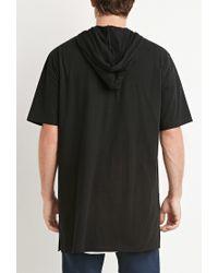 Forever 21 | Black Hooded Longline Tee for Men | Lyst