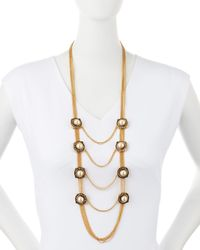 Alexander McQueen - Metallic Military Pearly & Crystal Chain Necklace - Lyst