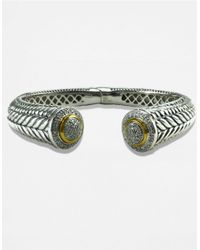 Lord & Taylor | Metallic Sterling Silver And 14k Gold Diamond Pave Bangle | Lyst