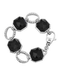 Lagos | Black Sterling Silver Onyx Rocks Medium Link Bracelet | Lyst