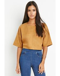 Forever 21 | Natural Contemporary Paneled Faux Suede Top | Lyst