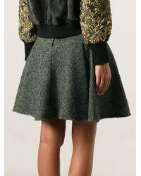 Dolce & Gabbana - Green Pleated Herringbone Skirt - Lyst