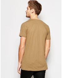 SELECTED - Brown Longline T-shirt - Camel for Men - Lyst
