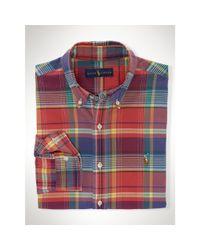 Polo Ralph Lauren | Red Plaid Cotton Oxford Shirt for Men | Lyst