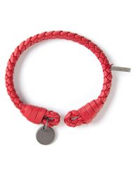 Bottega Veneta - Red Intrecciato Bracelet for Men - Lyst