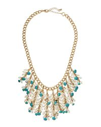 Lydell NYC | Blue Crystal Beaded Fringe Bib Necklace | Lyst