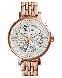 Fossil | Metallic 'jacqueline' Skeleton Dial Bracelet Watch | Lyst