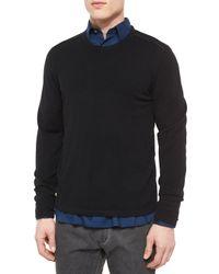 John Varvatos - Black Leather-trimmed Crewneck Sweater for Men - Lyst