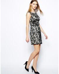 Mango - Black Sleeveless Lace Dress with Belt - Lyst