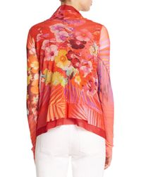 Fuzzi - Red Printed Ruffle-front Cardigan - Lyst