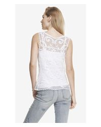 Express - White Baroque Lace Tank - Lyst