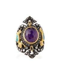 Armenta | Metallic Sugelite & Opal Iris Cutout Ring | Lyst