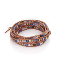Chan Luu | Orange Blue Lace Agate, Grey Cloudy Quartz & Leather Multi-row Beaded Wrap Bracelet | Lyst
