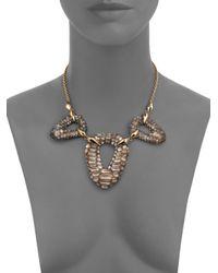 Alexis Bittar | Metallic Lakana Lucite Crocodile-textured Link Bib Necklace | Lyst