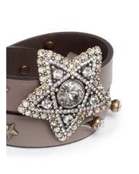 Lanvin | Brown Crystal Star Leather Wrap Bracelet | Lyst
