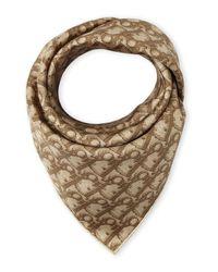 Dior | Brown Silk Logo Scarf | Lyst