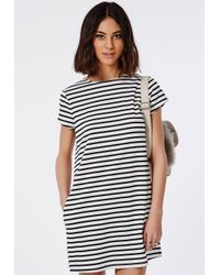 Missguided - Black Striped T-shirt Dress Monochrome - Lyst